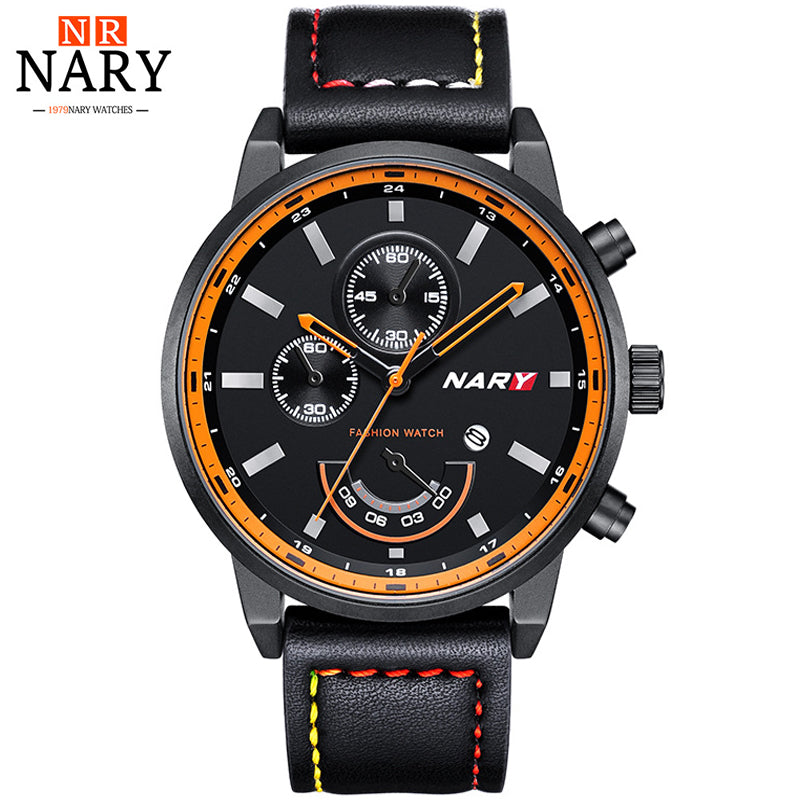 fd7718f2b91 NARY Watch For Men Brand Casual Fashion Watches Male Quartz Clock Men s  Leather Date Display Watchs