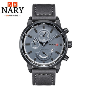 NARY Watch For Men Brand Casual Fashion Watches Male Quartz Clock Men's Leather Date Display Watchs Man With Wristwatches