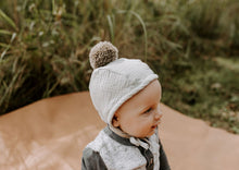Load image into Gallery viewer, Sherpa Lined Pom Baby Bonnet - Dove Grey