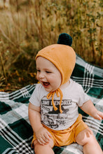 Load image into Gallery viewer, Sherpa Lined Pom Baby Bonnet - Goldenrod