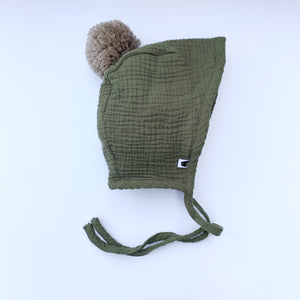 Sherpa Lined Pom Baby Bonnet - Army Green