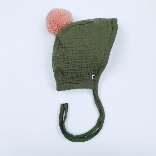Pom Baby Bonnet - Army Green