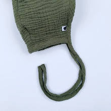Load image into Gallery viewer, Sherpa Lined Pom Baby Bonnet - Army Green