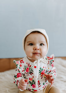 Ivory Classic Baby Bonnet by Borne Bare at bornebarebaby.com