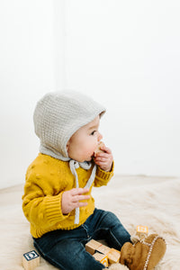 Dove Grey Classic Baby Bonnet by Borne Bare at bornebarebaby.com
