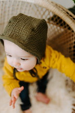 Load image into Gallery viewer, Army Green Classic Baby Bonnet by Borne Bare at bornebarebaby.com