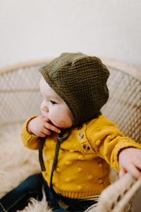 Army Green Classic Baby Bonnet by Borne Bare at bornebarebaby.com