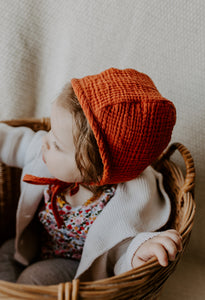 Rust Classic Bonnet by Borne Bare at bornebarebaby.com