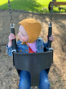 Goldenrod Classic Baby Bonnet by Borne Bare at bornebarebaby.com