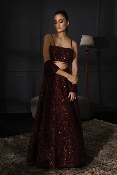 Deep Wine Sequins Embroidered Lehenga