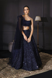 Midnight Blue Sequins Embroidered Lehenga Set With Drape Dupatta