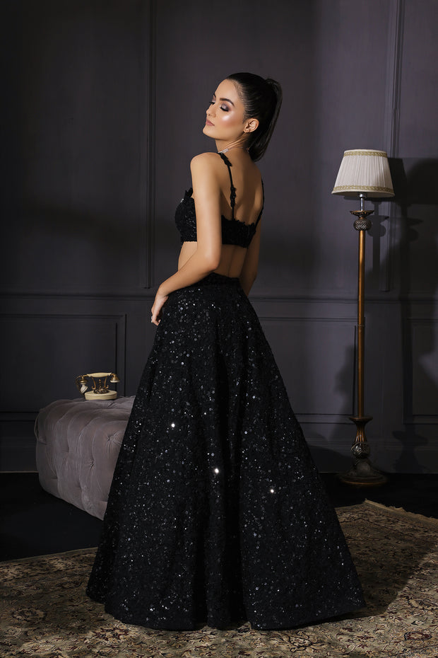Black Resham & Sequins Embroidered Lehenga With Scalloped Dupatta & Embroidered Belt