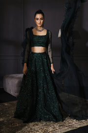 Bottle Green Resham & Sequins Embroidered Lehenga With Scalloped Dupatta & Embroidered Belt