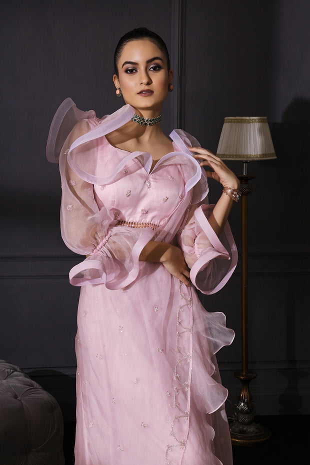 Ice Pink Organza Based Drape Saree With Ruffle Blouse & Tassels