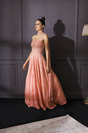 Peach Ombre Gown Embroidered With Cutdana, Sequins & Resham