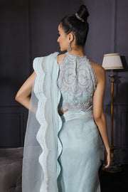 Ice Blue Scalloped Saree With Scalloped Crop Top & Bustier In Crepe  Embroidered With Sequins & Cutdana