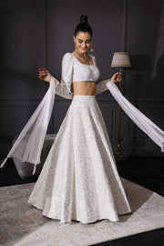 Ivory Sequins & Resham Embroidered Lehenga Set