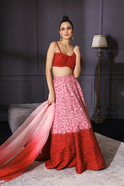 Red & Pink Ombre Lehenga Set