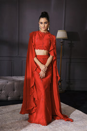Red Slit Skirt Set With Fringes & Cape