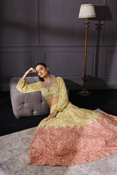 Yellow & Peach Ombre Lehenga Set