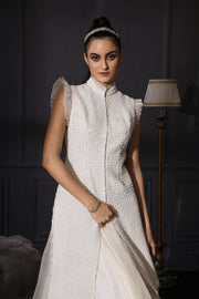 Ivory Pearl Embroidered Jacket With Organza Skirt & Scalloped Dupatta