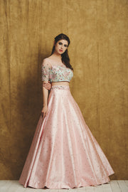 Pink and Aqua green Lehenga set