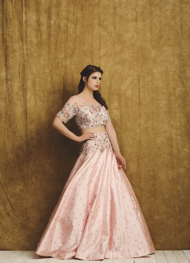 Pink lehenga with Pink Printed Blouse