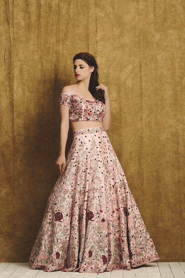 Pink Printed Blouse and Embroidered Lehenga Set