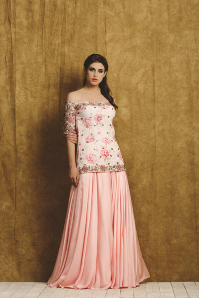 Pink Embroidered Kurta and Sharara Set