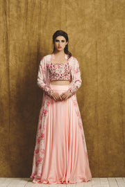 Pink and Maroon Floral Embroidered Sharara Set with Long Jacket
