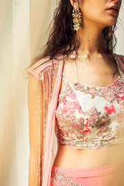 Pink Rose Printed Bustier with Plazzo Pants & Cape