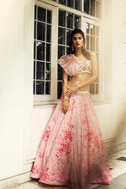 Rose Pink Ruffle Blouse with Printed Lehenga Skirt Set