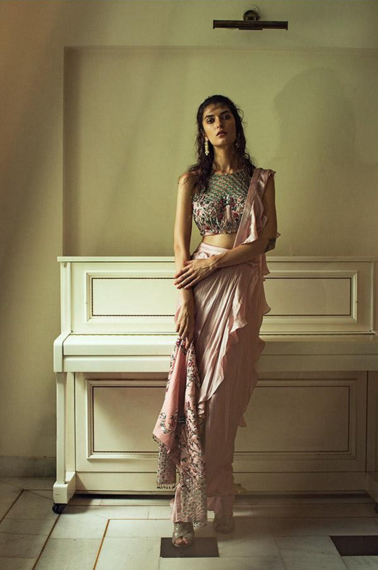 Dusty Pink And Beige Ruffle Embroidered Drape Saree With Jacket Mani Bhatia Designs