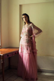 Pink Embellished Kurta with Sharara Pants Set