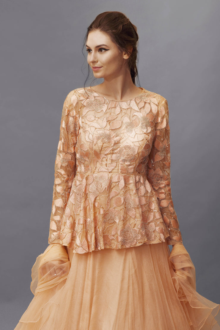 Peach Embroidered Peplum Top and Skirt Set
