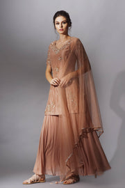 Nude Brown Kurti & Sharara Set with Embroidered Dupatta