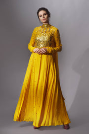 Mango Yellow Anarkali with Gold Embroidery
