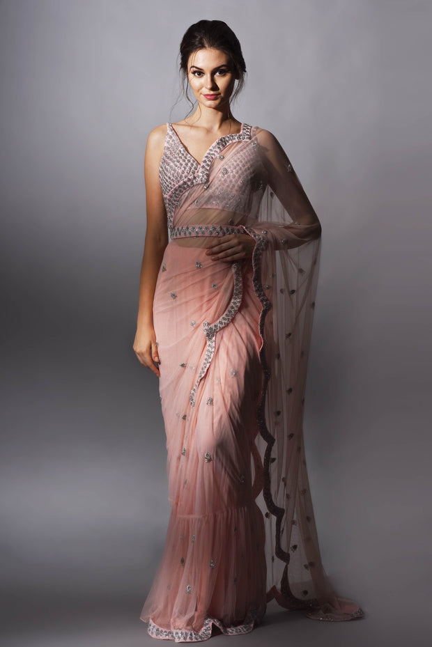 Pink Cutdana Embroidered Saree