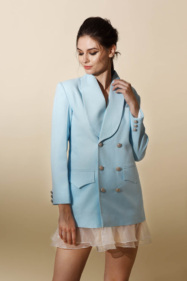 Ice Blue Blazer Dress with Ruffle