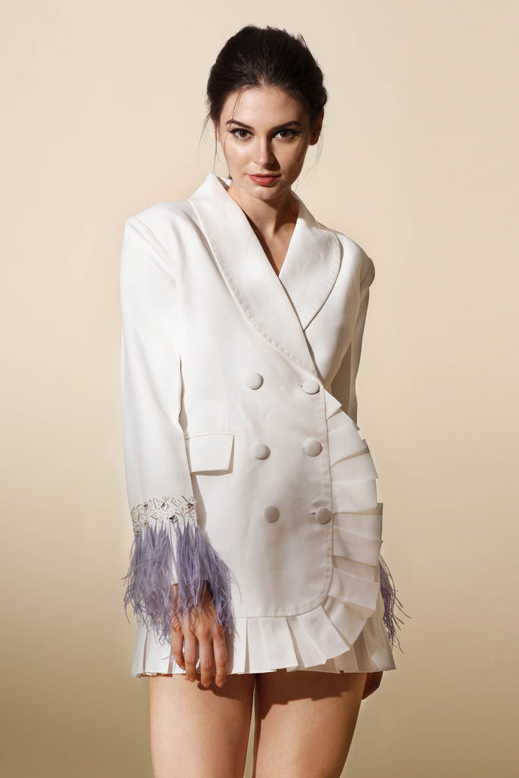Ivory Blazer Dress with Feathers