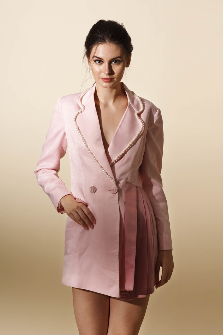Pink Blazer Dress with Pleats