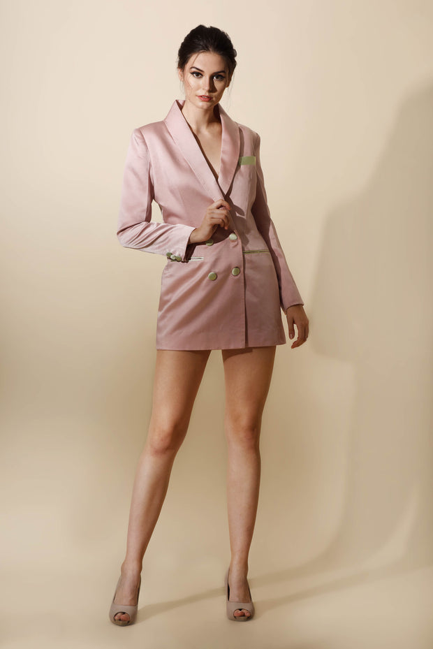 Pink Blazer Dress with Mint Detailing