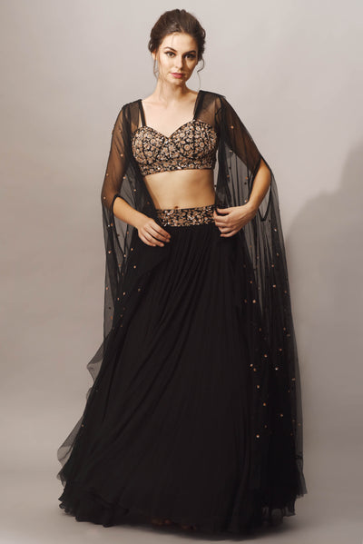 Black Cutdana Embroidered Top with Skirt & Ruffle Cape