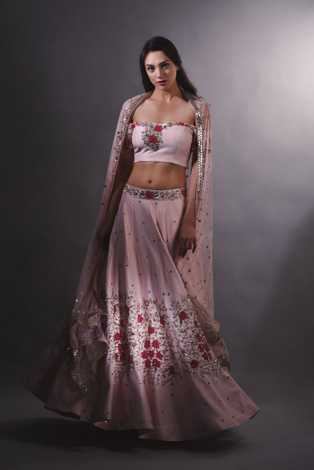 Pink Cutdana Embroidered Lehnga Set