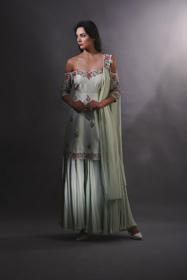 Pear Green Embroidered Kurta and Sharara Pants Set
