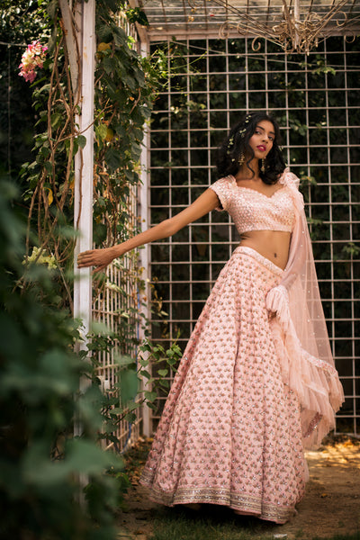 Tea Pink Cutdana Lehnga Set