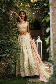 Pastel Green & Pink Embellished Lehnga Set