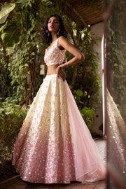 Pink-Yellow Ombre Lehenga Set