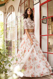 Ivory Printed Top & Skirt Set With Organza Dupatta