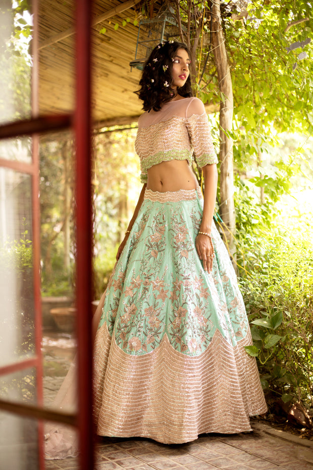 Ocean Green & Pink Embellished Lehenga Set